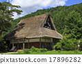 shirakawa-go, shirakawago, having a steep thatched rafter roof 17896282