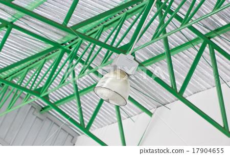 Single Ceiling Light On Metal Roof. 17904655
