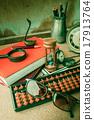 Equipment on the desk. 17913764