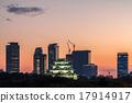 名古屋城堡 日落 高層建築 17914917