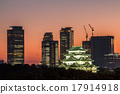 nagoya castle, sunset, high rise 17914918