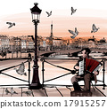 Accodionist playing on Pont des arts in Paris 17915257