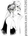 Attractive woman fashion model applying lipstick 17915265