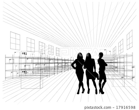 Silhouettes of business people 17916598