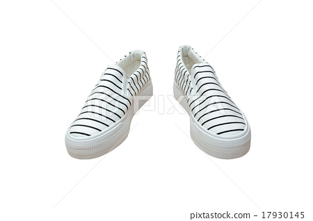Pair sneakers, vintage strip color  isolated on white background 17930145