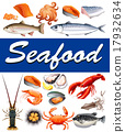 Different kind of seafood and text 17932634