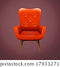 Red armchair with wooden legs 17933271