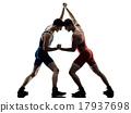 wrestlers wrestling men isolated silhouette 17937698