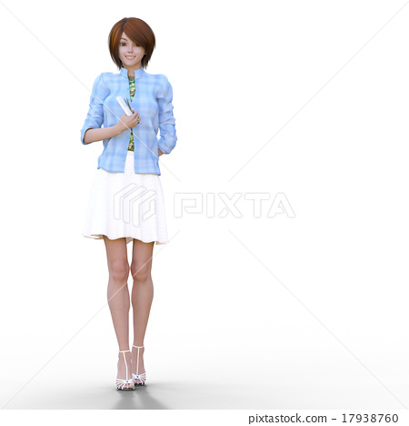Female hairdresser with scissors perming 3DCG illustration material 17938760