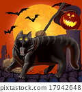 Halloween Scared Cat and  Mouse with Pumpkin. 17942648