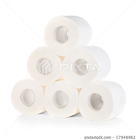 Toilet paper close-up isolated on white  17948962