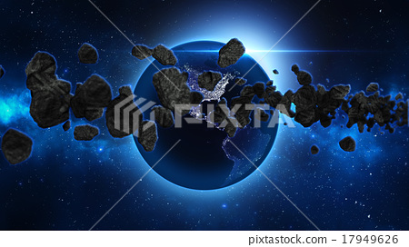 Planet Earth with asteroid in universe or space 17949626
