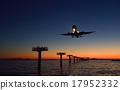 飛機 晚景 導燈 17952332