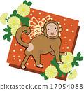 원숭이와 국화 빨간색 배경 연하장 소재 17954088