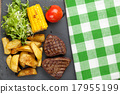 Steak with grilled potato, corn, salad and tomato 17955199