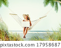 Woman Relaxation Beach Working Enjoyment Concept 17958687