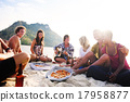 Group of friends having a summer beach party Concept 17958877