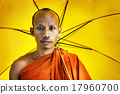 Buddhist monk holding umbrella Ceremony Concept 17960700