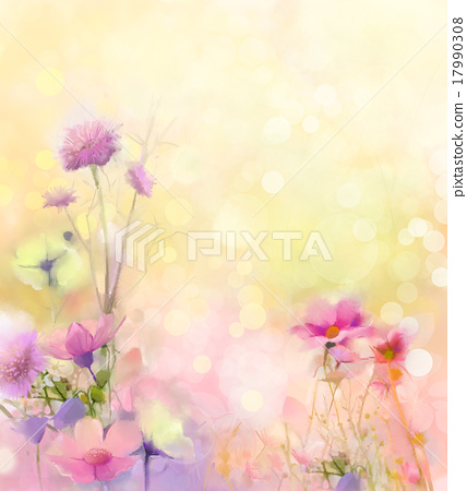 Stock Illustration: Oil painting nature grass-pink cosmos flower