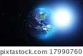 Planet Earth with asteroid in universe or space 17990760