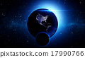 Planet Earth with asteroid in universe or space 17990766