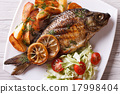 grilled fish with potatoes and salad top view 17998404