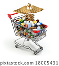 Pharmacy medicine concept. Shopping cart  pills 18005431