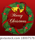 christmas wreath, merry christma, bell 18007576