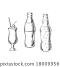 Beer, sweet soda and cocktail sketches 18009956