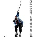 Ice hockey man player silhouette 18016492