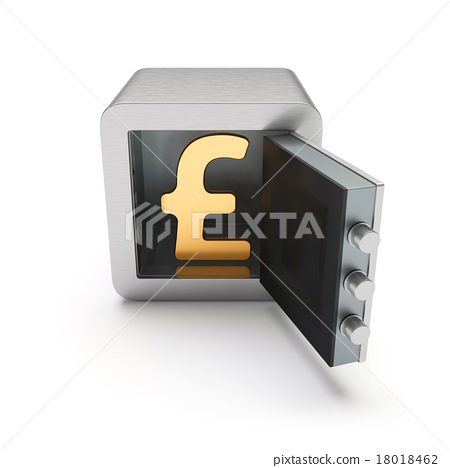 Open Safe Box With Golden Pound Sign Inside Stock Illustration