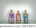 Three little ballerinas in dance studio 18018855