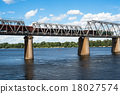Railroad bridge across  with freight train 18027574