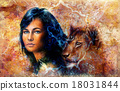 Young woman and lion cub. Woman Portrait with long 18031844