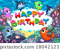 Happy Birthday card with marine life 18042123