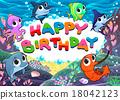 Happy Birthday card with marine life 18042123