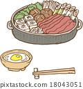 日本料理 葷菜 用鍋烹飪 18043051