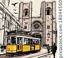 Typical tramway in Lisbon near Se cathedral 18044560