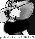 Young woman with hat and fur 18044578