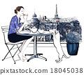 Woman having breakfast on a balcony in Paris 18045038