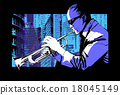 Jazz trumpet player over a city background 18045149