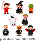 Cute Halloween Kids  In Trick or Treat Costumes Cartoon 18061896