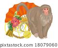 신 년 연하장 소재 부채와 정월 장식과 원숭이 18079060