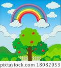 rainbow, tree, apple 18082953