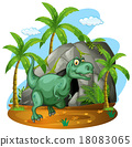 Green dinosaur standing by the cave 18083065