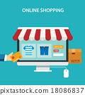online shopping concept flat design 18086837