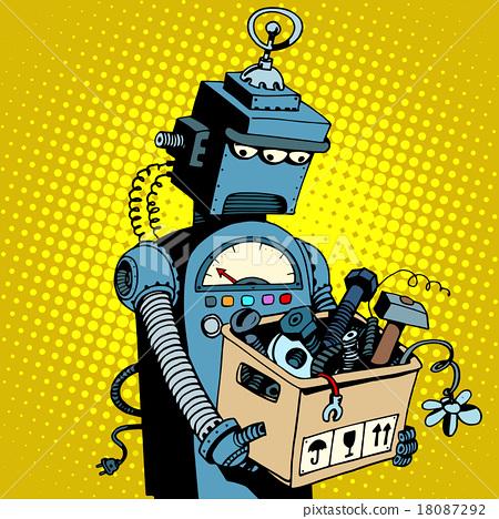Sad retro robot leaves work 18087292