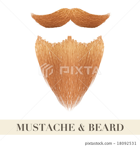 Realistic Vintage ginger beard with curly mustache 18092531