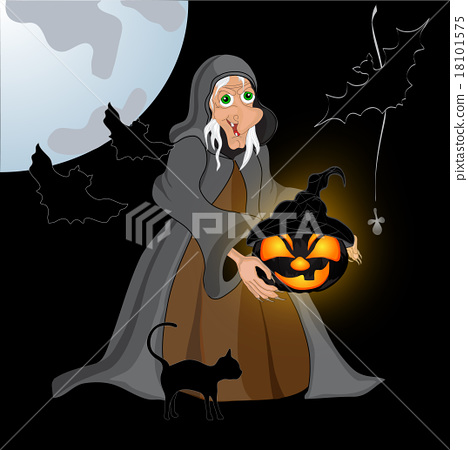 Halloween night background with creepy castle 18101575