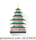 vector flat japan multistory pagoda illustration 18103839